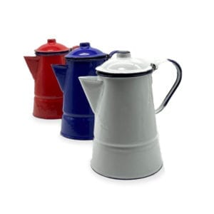 A set three Enamel Coffee Pot by Haiti Metal