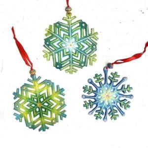 Blue and Green Snowflakes by Papillon (Set of 3) - Christmas Ornament M